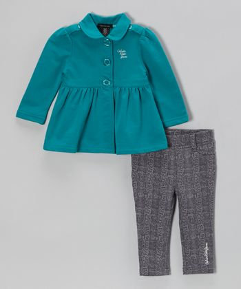 Teal Coat & Jeggings - Infant & Girls