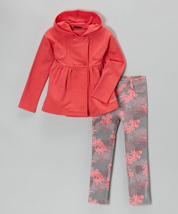 Coral Coat & Floral Leggings - Infant & Toddler