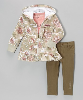 Pink Floral Zip-Up Hoodie Set - Infant, Toddler & Girls