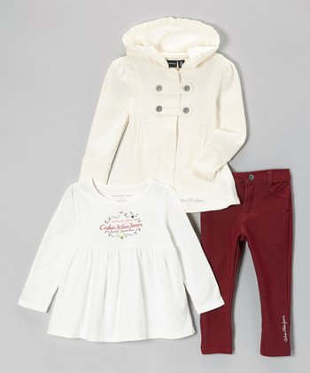 Cream Coat Set - Infant, Toddler & Girls