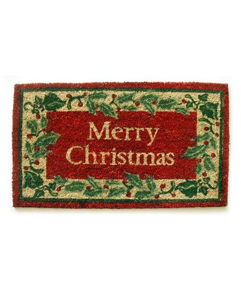 'Merry Christmas' Holly Border Doormat