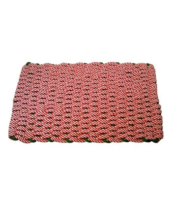 Red & White Candy Cane Christmas Floor Mat