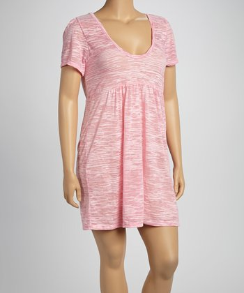 Baby Pink Burnout Scoop Neck Dress - Women