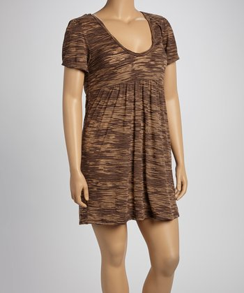 Brown Burnout Scoop Neck Dress - Women