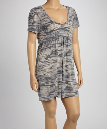 Charcoal Burnout Scoop Neck Dress - Women