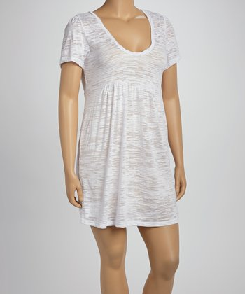 White Burnout Scoop Neck Dress - Women