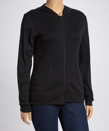 Black Zip-Up Hoodie - Women