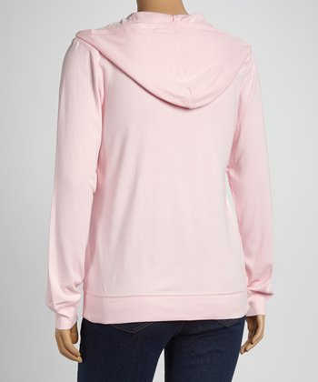 Baby Pink Zip-Up Hoodie - Women