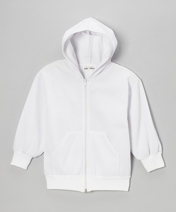 White Zip-Up Hoodie - Kids