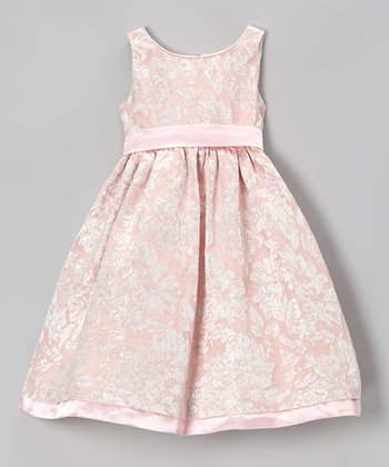 Pink & Gold Floral A-Line Dress - Toddler & Girls