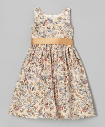Gold & Blue Floral A-Line Dress - Toddler & Girls