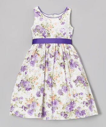 Lavender & White Floral A-Line Dress - Toddler & Girls