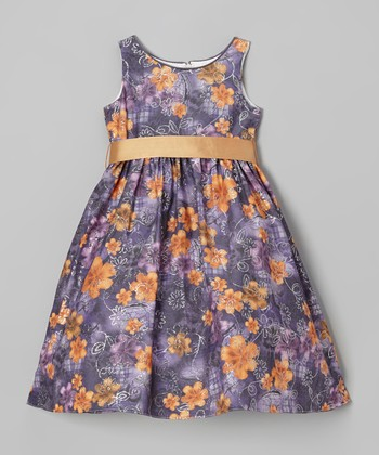 Purple & Orange Floral A-Line Dress - Toddler & Girls