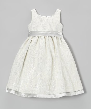 Ivory & Sage Floral A-Line Dress - Toddler & Girls