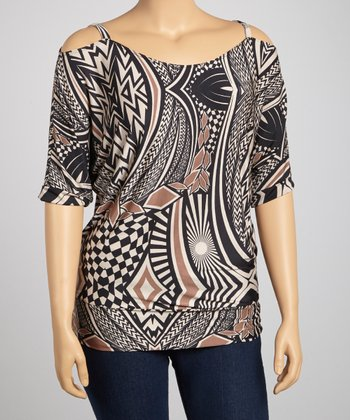 Black & Brown Geometric Cutout Top - Plus