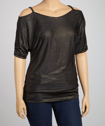 Black Shimmer Cutout Top - Plus