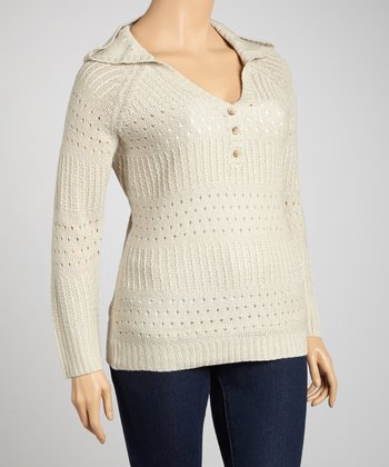 Bone Stripe Crocheted Hoodie - Plus