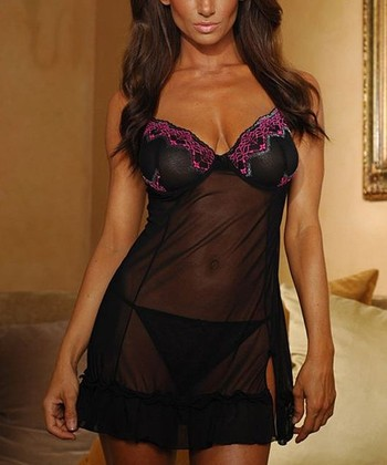 Black & Fuchsia Lace Mesh Chemise & G-String - Women