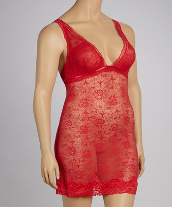 Red Lace Ribbon-Trim Chemise - Plus