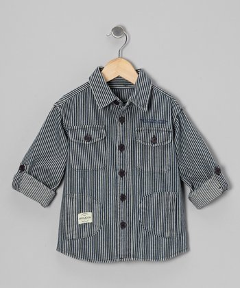 Navy & White Railroad Stripe Button-Up - Toddler & Boys