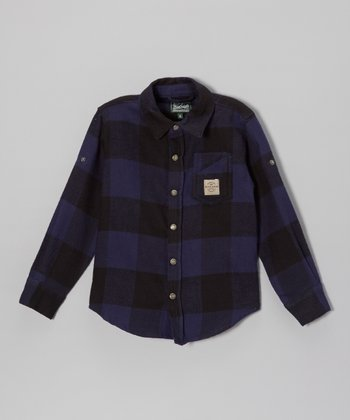 Blue Signature Plaid Button-Up - Boys