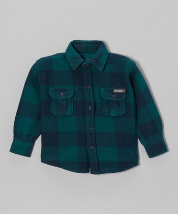 Green & Blue Plaid Flannel Button-Up - Infant, Toddler & Boys