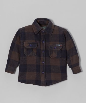 Brown Plaid Flannel Button-Up - Boys