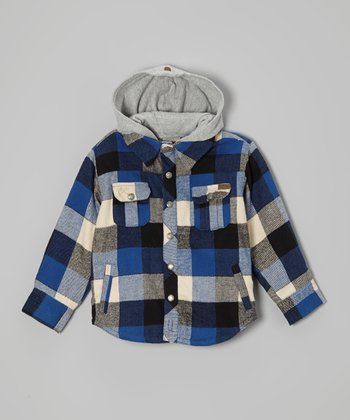 Blue Plaid Flannel Hooded Button-Up - Boys
