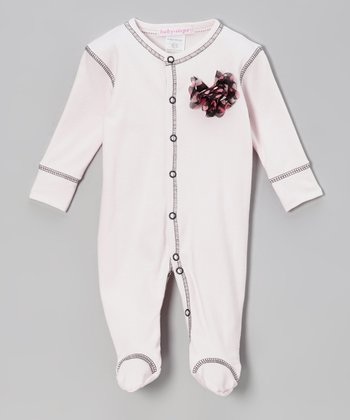 Pink & Charcoal Chiffon Flower Footie - Infant