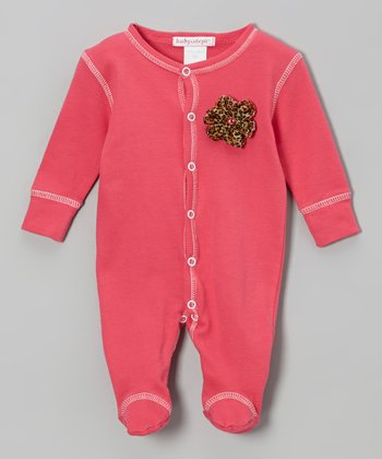 Fuchsia & Pink Chiffon Flower Footie - Infant