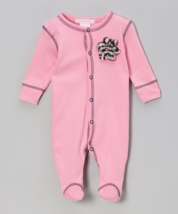 Pink & Navy Chiffon Flower Footie - Infant