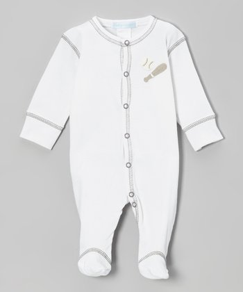 White & Gray Baseball Footie - Infant