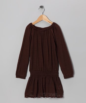 Brown Shirred Tunic - Girls
