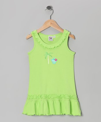 Lime Palm Tree Ruffle Cover-Up  - Infant, Toddler & Girls