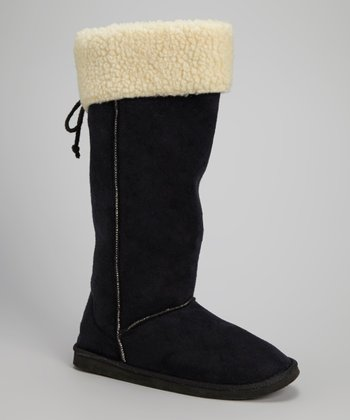 Black Faux Shearling Collar Boot