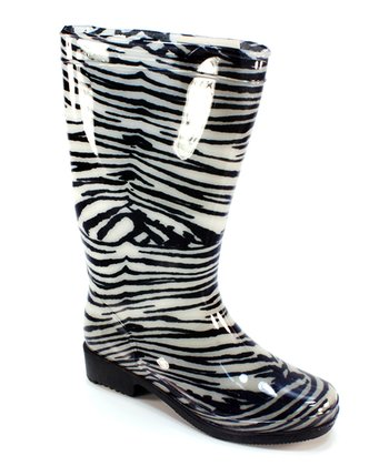 Black Zebra Rain Boot