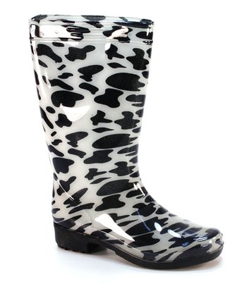Black Cow Rain Boot