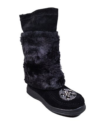 Black Faux Fur Apala Boot