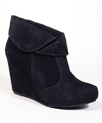 Black Chiki Wedge Bootie