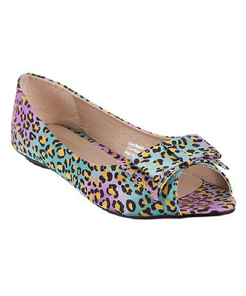 Yellow Dot Leopard Orchid Peep-Toe Flat