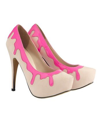 Beige & Neon Pink Drips Raspberry Ripple Pump