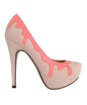Beige & Neon Peach Drips Whipped Cream Pump
