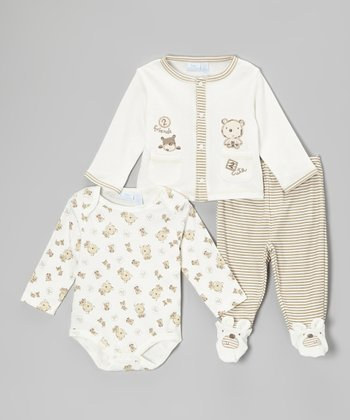 Baby Headquarters Cream & Brown Stripe Bear Bodysuit Set - Infant