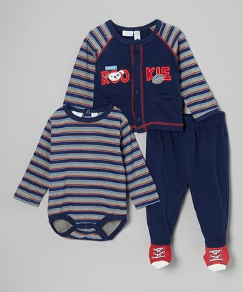 Baby Headquarters Navy & Red Stripe 'Rookie' Bodysuit Set - Infant