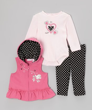 Light Pink Heart Hooded Vest Set