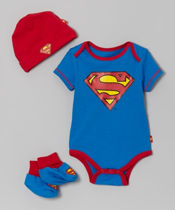 Red & Blue Superman Booties Set - Infant