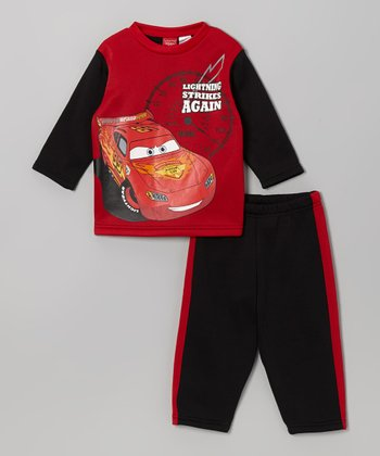 Red & Black Cars Top & Pants - Toddler