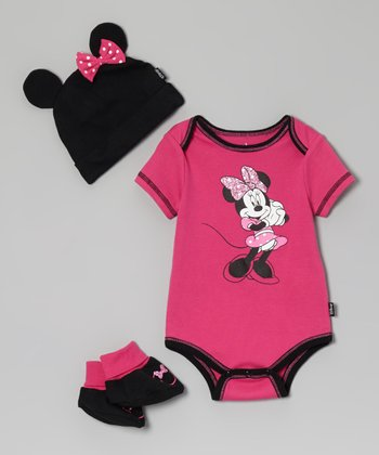 Pink & Black Minnie Bodysuit Set - Infant
