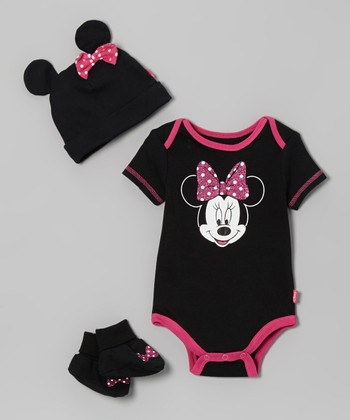 Black & Pink Minnie Booties Set - Infant