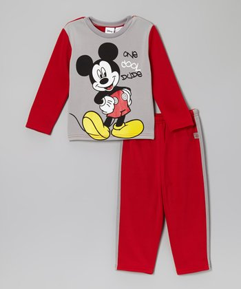 Red & Gray Mickey Top & Pants - Toddler